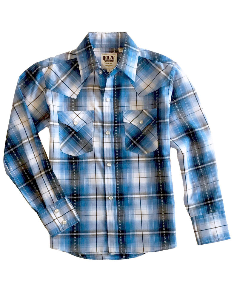 Ely Walker Boys' Blue Diamond Dobby Plaid Long Sleeve Western Shirt , Blue, hi-res