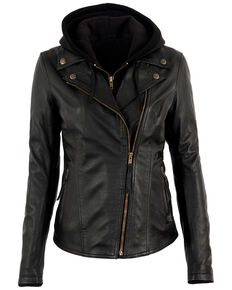 STS Ranchwear Women's Wanderlust Leather Hoodie Jacket, Black, hi-res