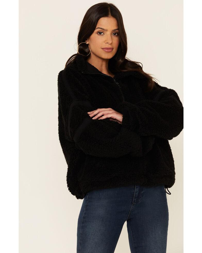 Free People Women's Nantucket Fleece Pullover , Black, hi-res