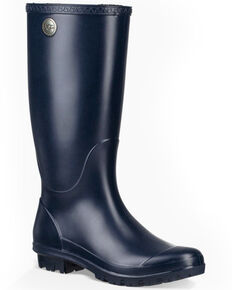 UGG Women's Shelby Matte Rain Boots - Round Toe, Navy, hi-res