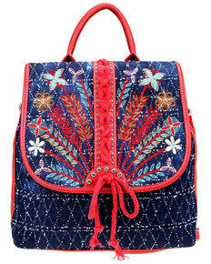 Montana West Women's Lacey Embroidered Backpack, Red, hi-res