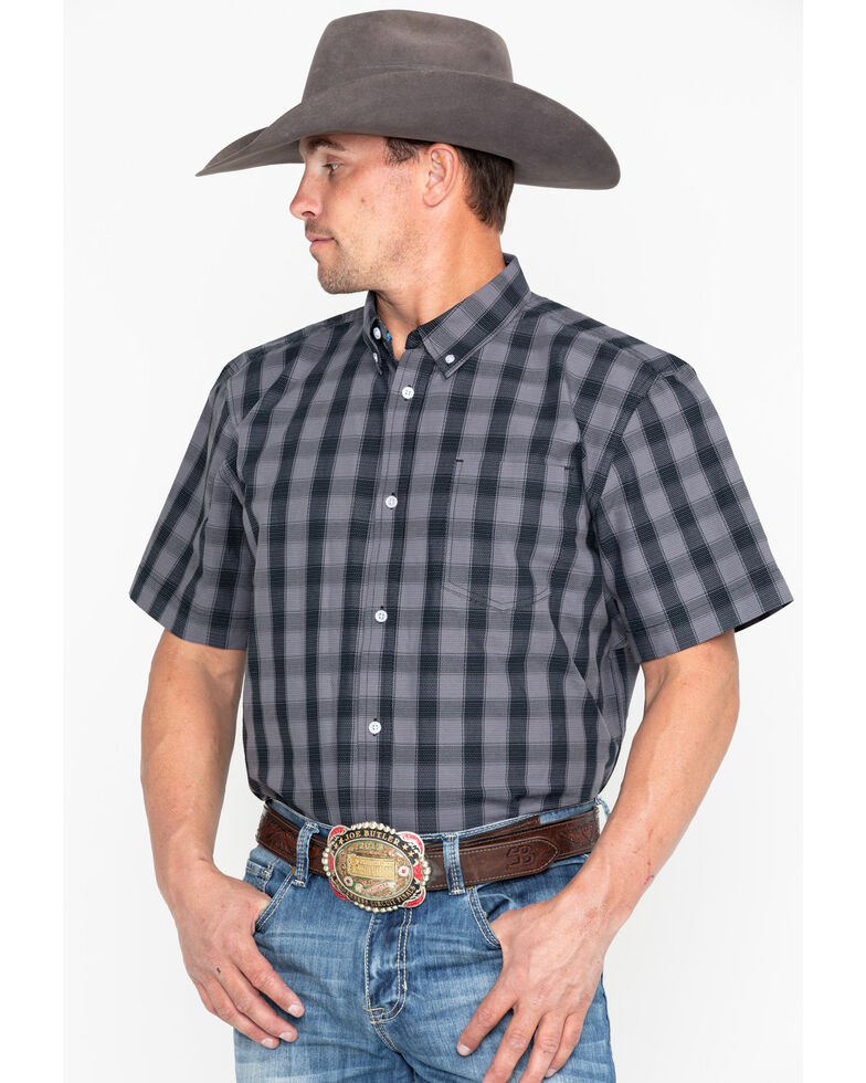 Cody James Core Men's Checked Out Small Plaid Short Sleeve Western Shirt - Tall , Black, hi-res