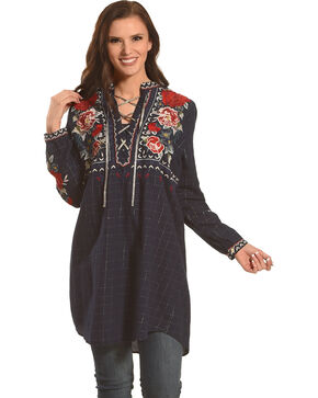 Johnny Was Women's Mica Laceup Henley Tunic , Dark Blue, hi-res