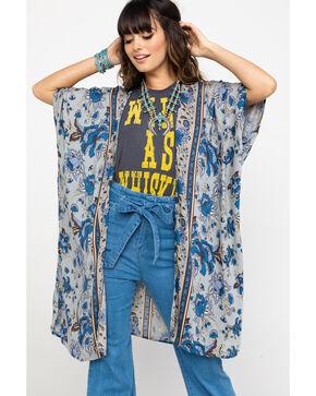 Angie Women's Dove Floral Print Kimono, Grey, hi-res