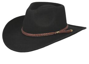 Outback Trading Co. Broken Hill Crushable Australian Wool Hat, Black, hi-res