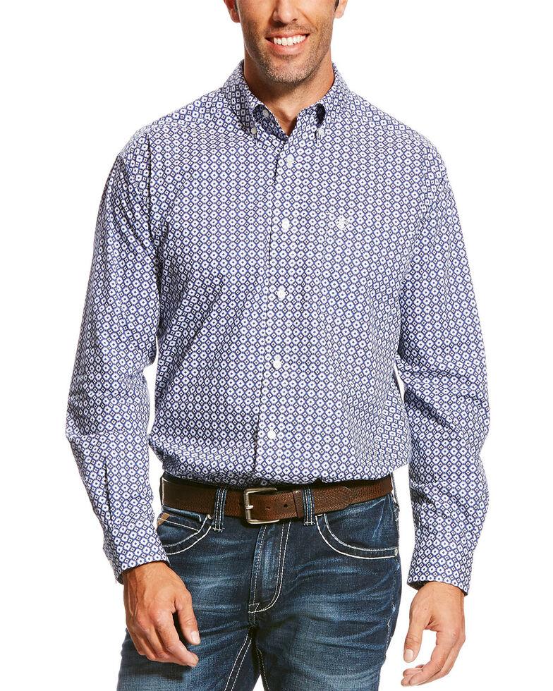 Ariat Men's Blue Patterned Geo Print Long Sleeve Western Shirt, Blue, hi-res