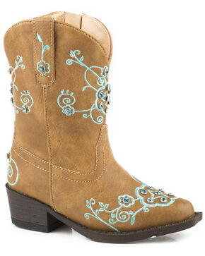 Roper Toddler Girls' Flower Sparkles Cowgirl Boots - Snip Toe, Tan, hi-res