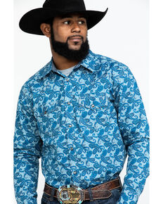 Cody James Men's Roy Grandstand Paisley Print Long Sleeve Western Shirt - Big , Royal Blue, hi-res