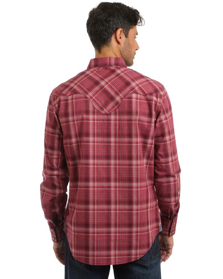 Wrangler Retro Men's Large Plaid Long Sleeve Western Shirt , Burgundy, hi-res