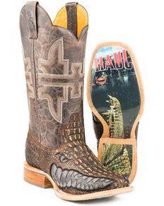 Tin Haul Men's Swamp Chomp Western Boots - Square Toe, Brown, hi-res