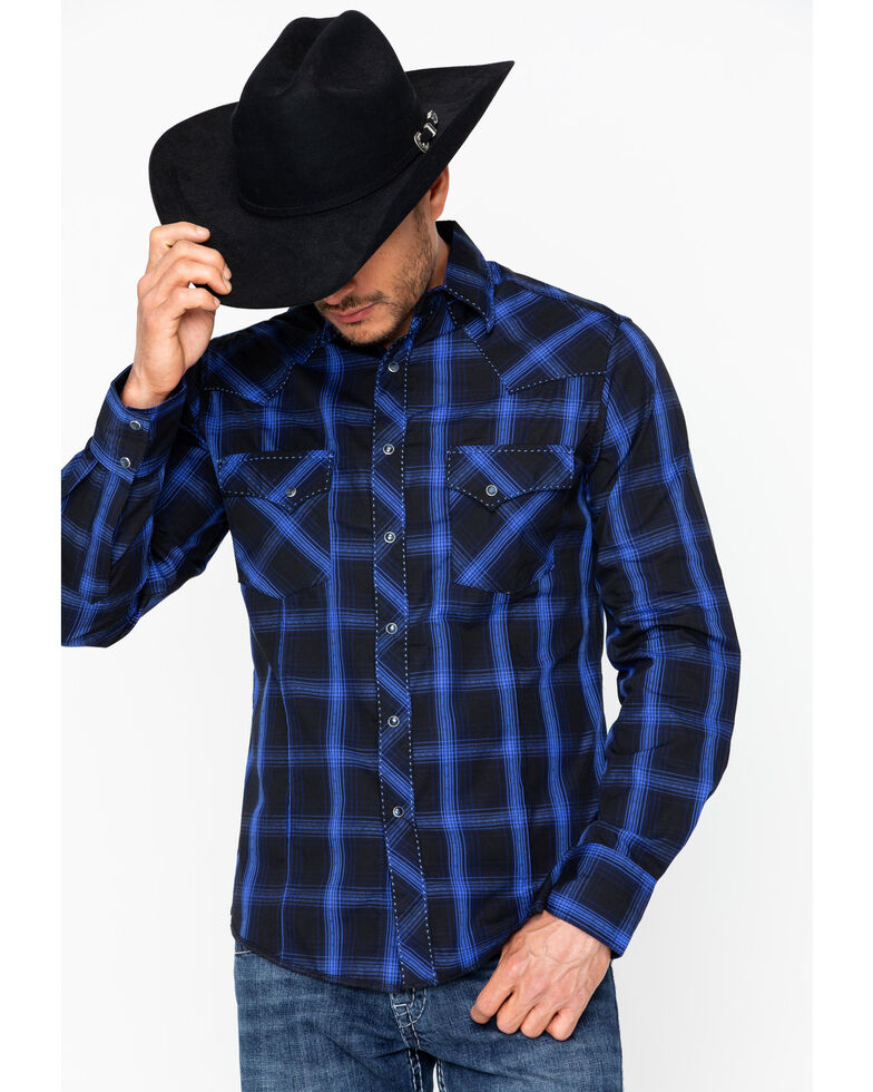 ca29369fdb Wrangler Men s Fashion Snap Long Sleeve Plaid Shirt - Country Outfitter