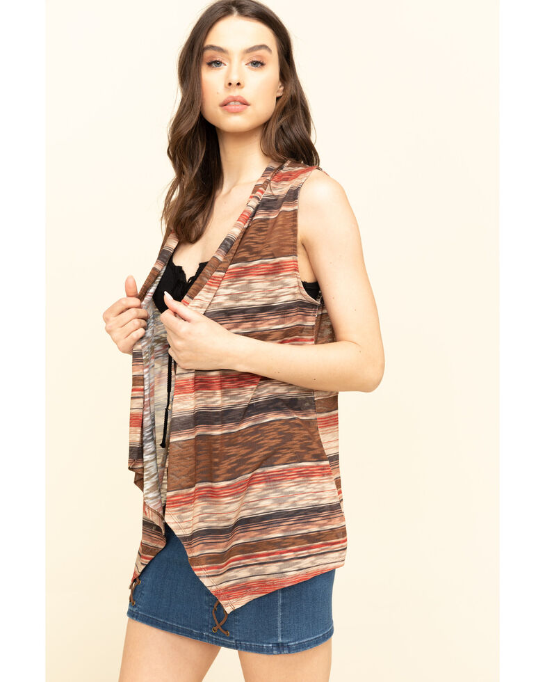 Rock & Roll Denim Women's Knit Stripe Vest , Brown, hi-res