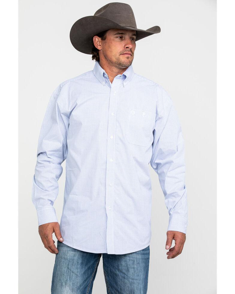 George Strait by Wrangler Men's White Check Plaid Long Sleeve Western Shirt - Big , White, hi-res