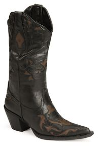 Roper Vintage Inlay Cowgirl Boots, Black, hi-res