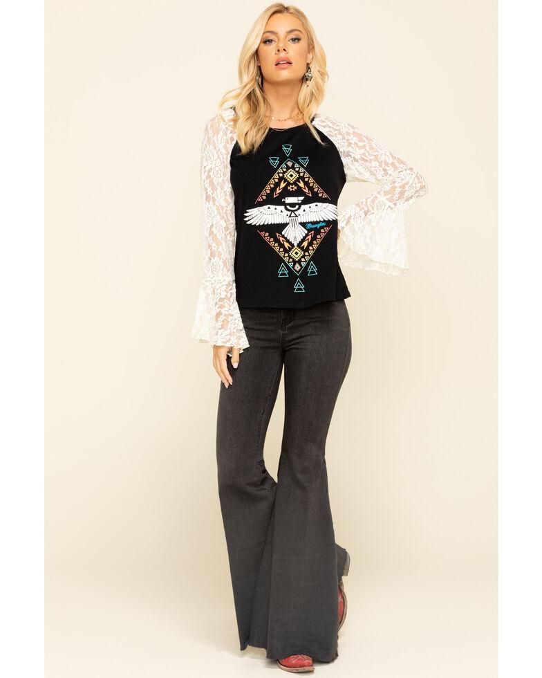 Wrangler Women's Southwest Lace Bell Sleeve Top, Black, hi-res