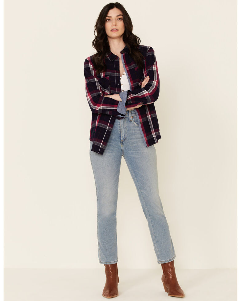 Flag & Anthem Women's Navy Amory Plaid Long Sleeve Button-Down Western Core Shirt , Navy, hi-res