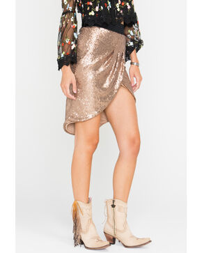 HYFVE Women's Rose Gold Sequin Tulip Skirt , Bronze, hi-res