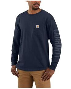 Carhartt Men's Navy Relaxed Fit Heavyweight Logo Long Sleeve Work Pocket T-Shirt - Tall, Navy, hi-res