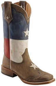 Roper Texas Flag Cowboy Boots - Square Toe, Brown, hi-res