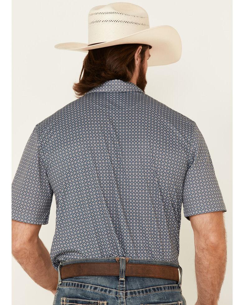 Ariat Men's Rock Climb Geo Print Short Sleeve Polo Shirt - Big, Grey, hi-res