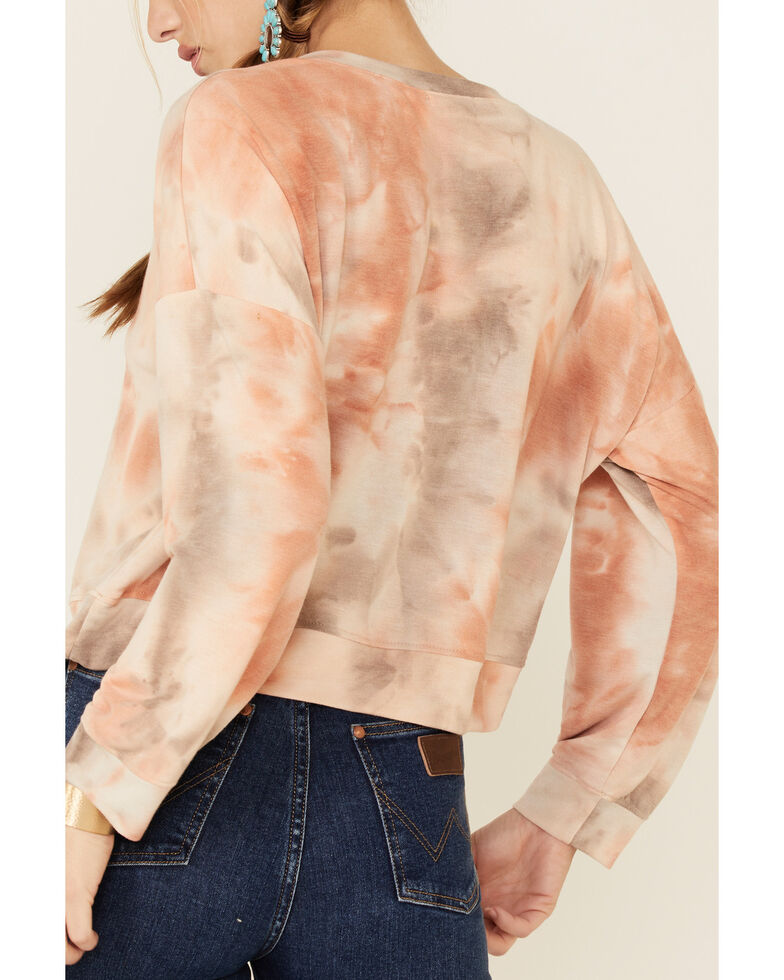 Luna Chix Women's Blush Tie Dye Cropped Sweatshirt , Blush, hi-res