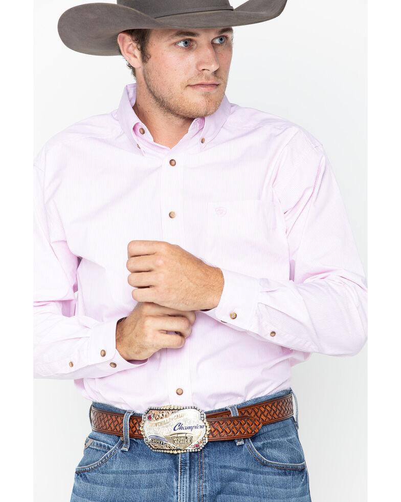 Ariat Men's Pink Dayne Mini Striped Long Sleeve Shirt - Big & Tall , Pink, hi-res