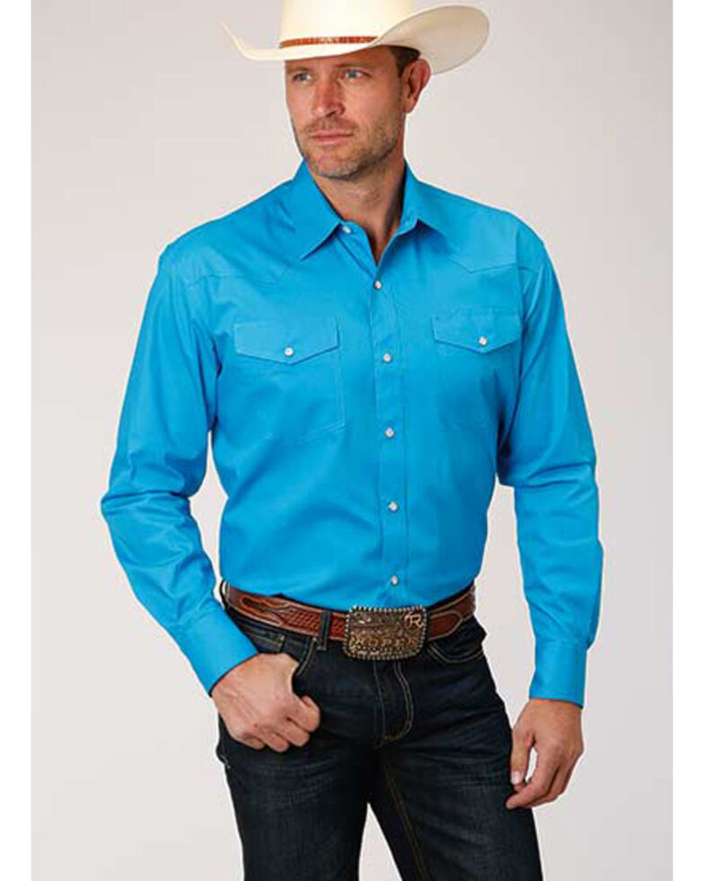 Amarillo Men's Turquoise Solid Poplin Long Sleeve Western Shirt , Blue, hi-res