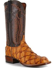 Lucchese Men's Cognac Pirarucu Exotic Boots - Square Toe, Brown, hi-res
