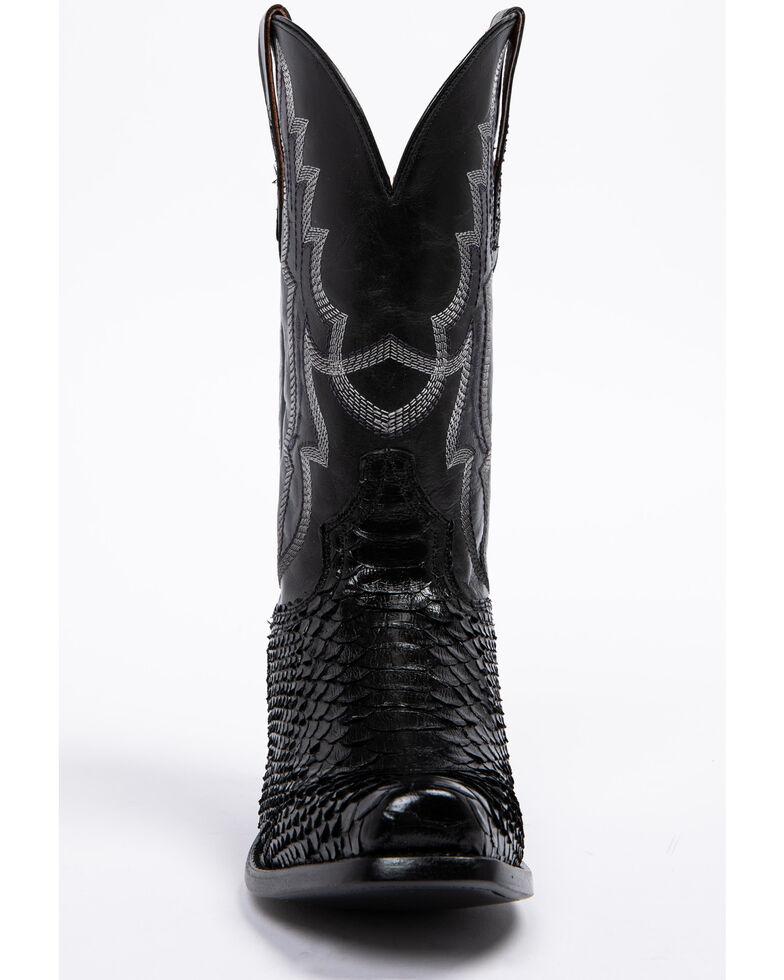 Dan Post Men's Black Python Cowboy Boots - Square Toe, Black, hi-res