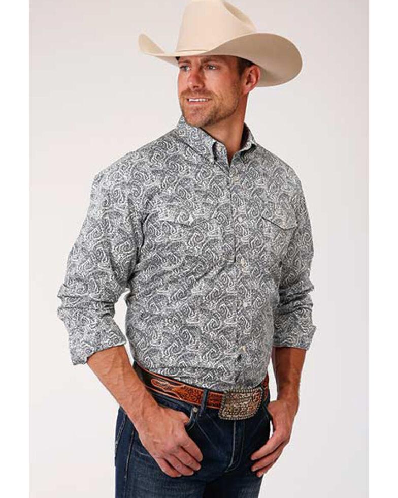 Roper Men's Paisley Print Long Sleeve Western Shirt, Blue, hi-res