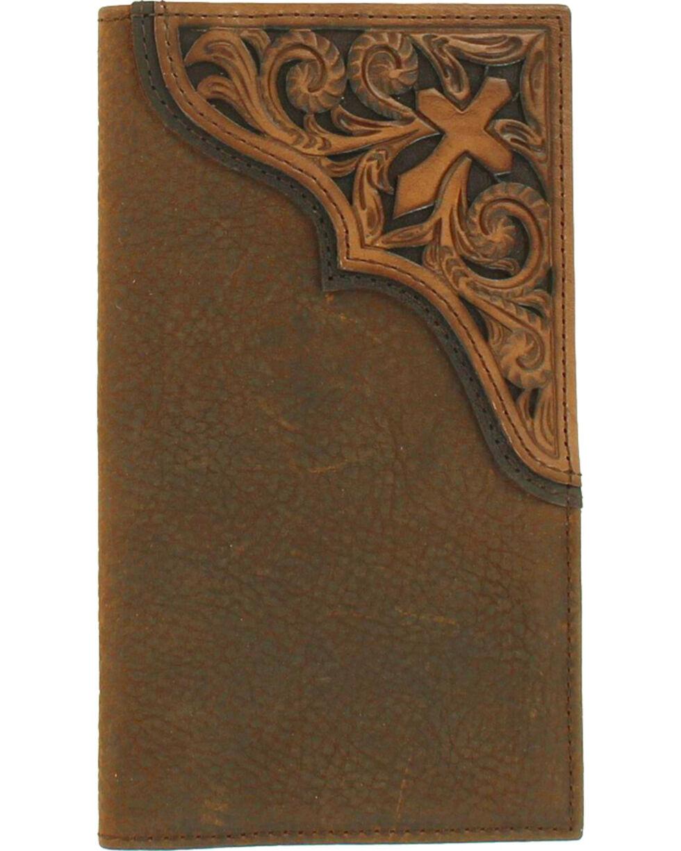 Ariat Men's Tooled Cross Leather Rodeo Wallet , Medium Brown, hi-res