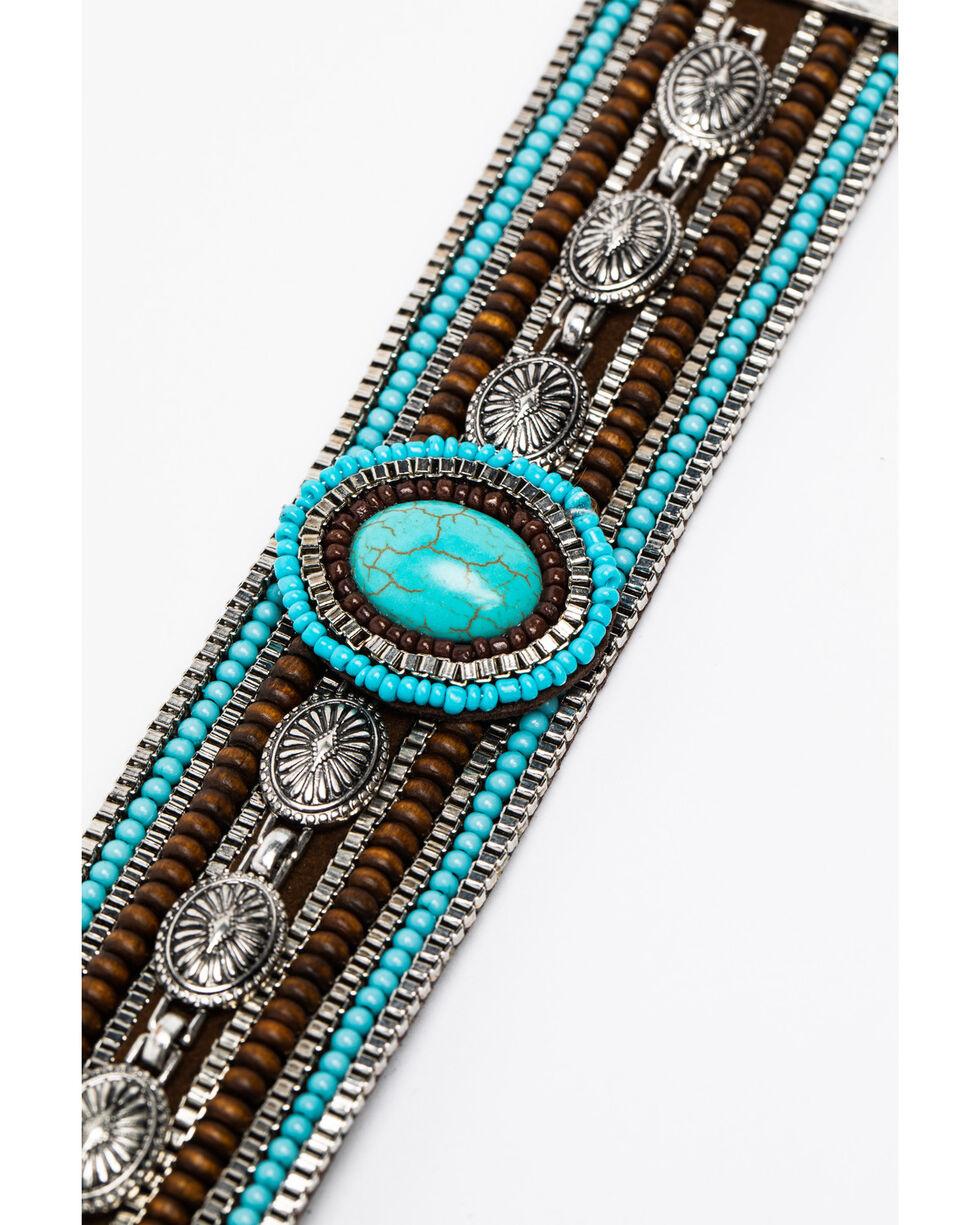 Shyanne Women's Mini Concho Link Beaded Magnetic Bracelet, Silver, hi-res