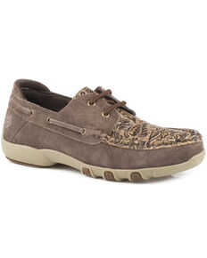 Roper Women's Brown Lacee Tooled Driving Moc Boat Shoes , Brown, hi-res