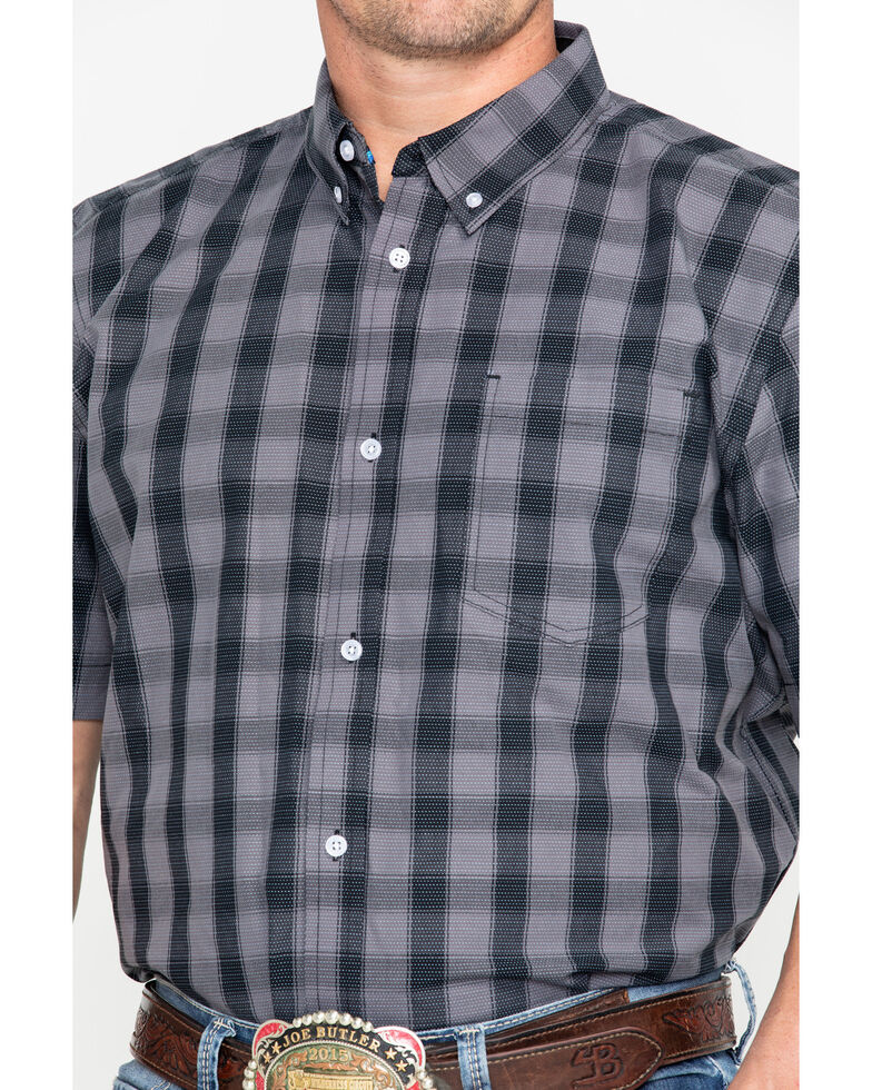 Cody James Core Men's Checked Out Small Plaid Short Sleeve Western Shirt - Big , Black, hi-res
