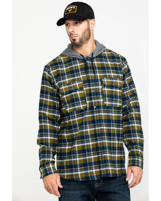 Hawx Men's Grey Hooded Flannel Shirt Work Jacket - Tall , Grey, hi-res