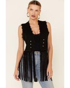 Vocal Women's Black Studded Fringe Vest , Black, hi-res