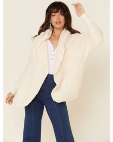 Derek Heart Women's Fuzzy Hooded Open Front Cardigan , Ivory, hi-res