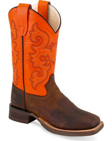 Old West Boys' Brown Orange Six Row Stitch Cowboy Boots - Square Toe, Brown, hi-res