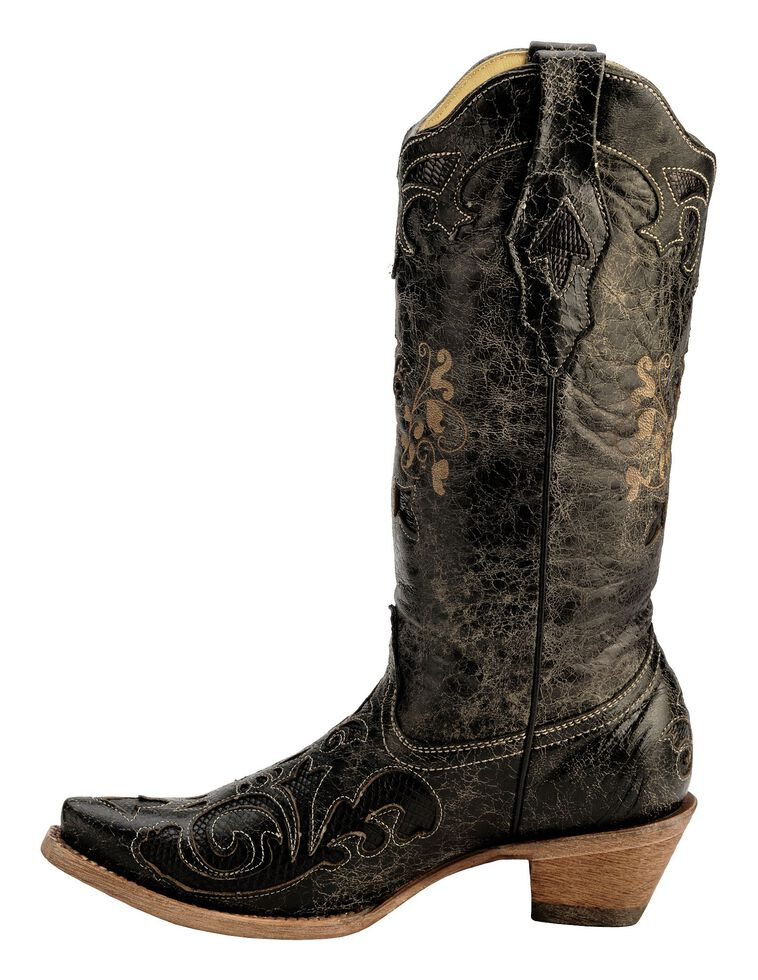 6c66ccd0d75 Corral Vintage Distressed Black with Lizard Inlay Cowgirl Boots - Snip Toe