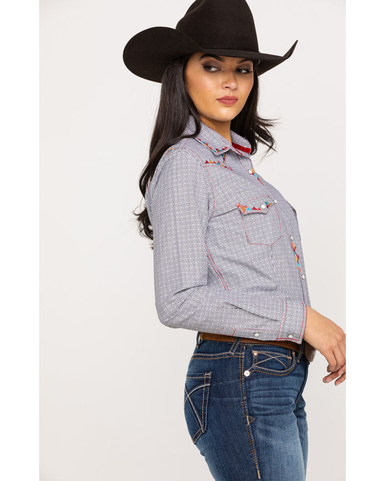 Rough Stock by Panhandle Women's Stripe Geo Embroidered Long Sleeve Western Shirt, Black, hi-res