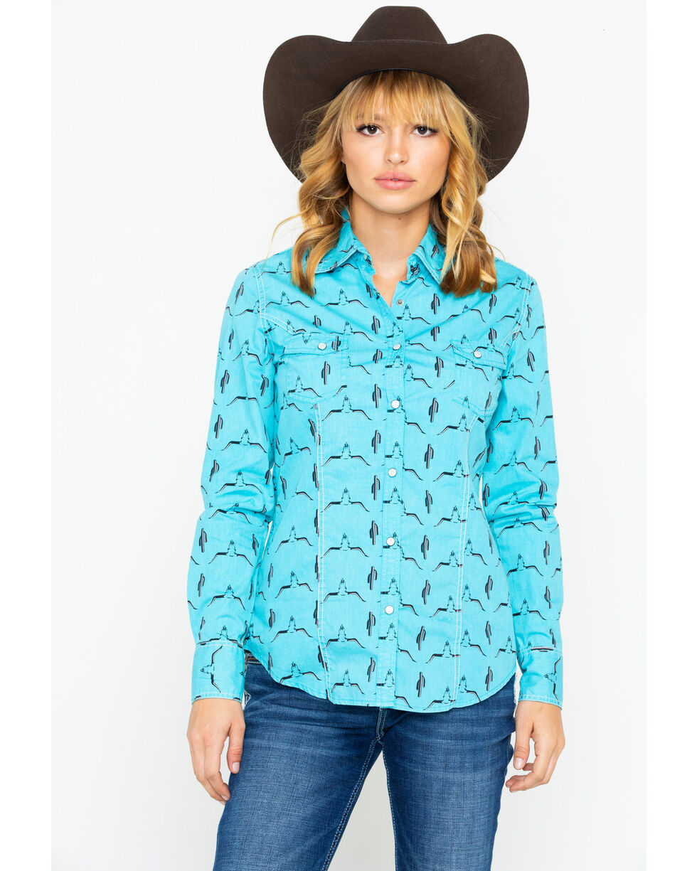 Rock & Roll Cowgirl Women's Longhorn Long Sleeve Western Shirt, Turquoise, hi-res