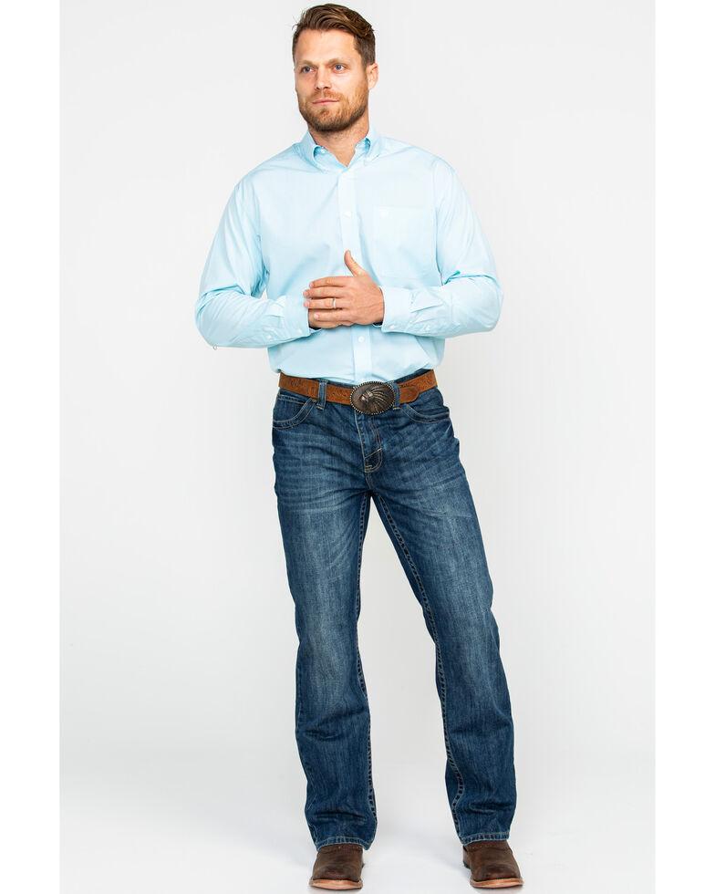 Ariat Men's Pintpoint Solid Long Sleeve Western Shirt , Blue, hi-res