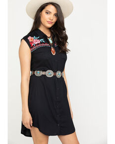 Studio West Women's Floral Embroidered Button Down Dress, Black, hi-res