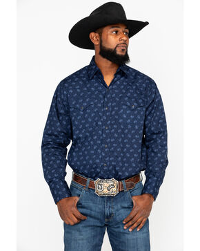 Ely Cattleman Men's Small Paisley Print Long Sleeve Western Shirt , Navy, hi-res