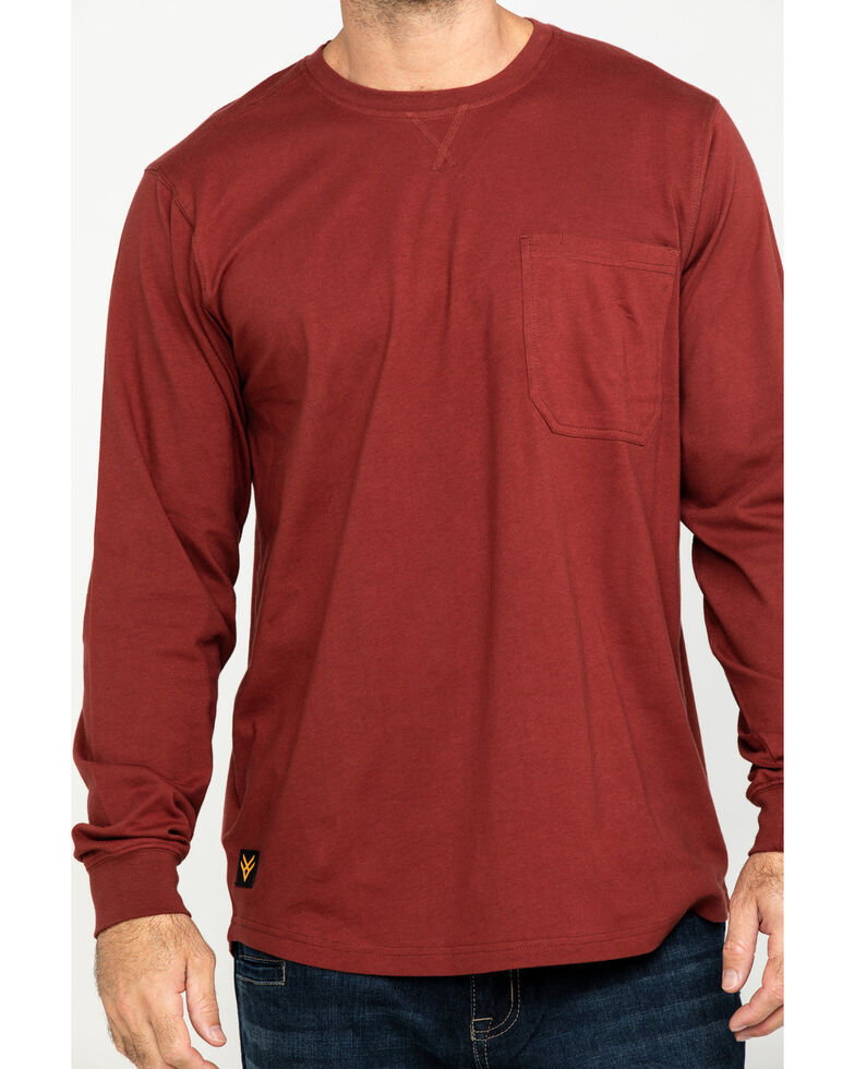 Hawx Men's Red Pocket Long Sleeve Work T-Shirt - Tall , Red, hi-res