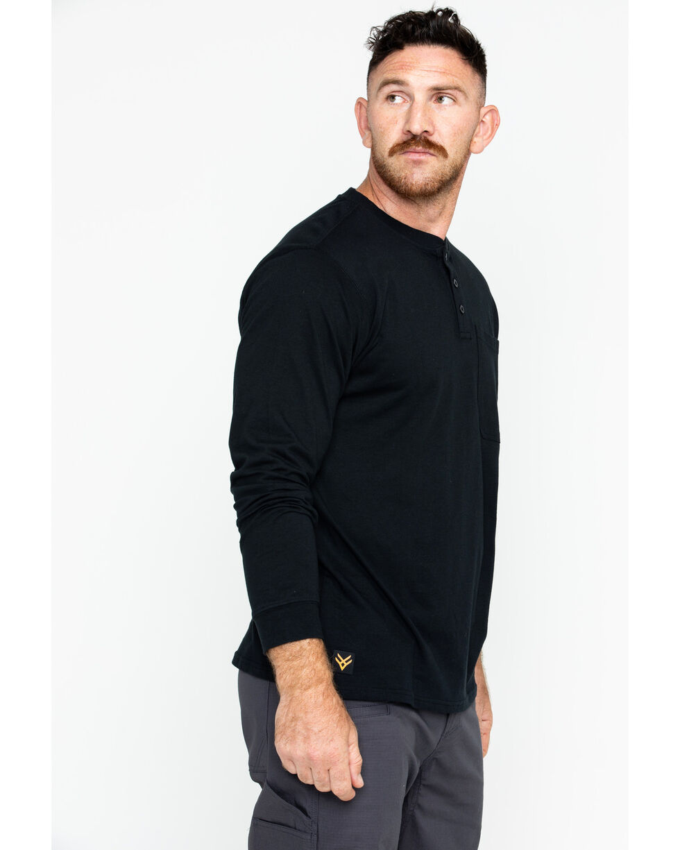 Hawx® Men's Pocket Henley Work Shirt , Black, hi-res