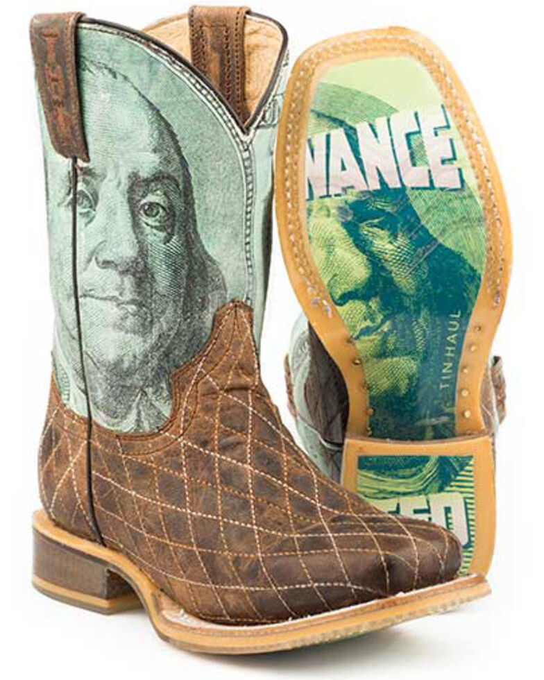Tin Haul Youth Boys' Money Western Boots - Square Toe, Tan, hi-res