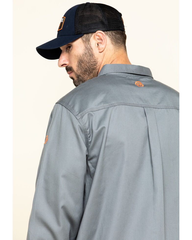 Hawx Men's Grey FR Long Sleeve Woven Work Shirt , Silver, hi-res
