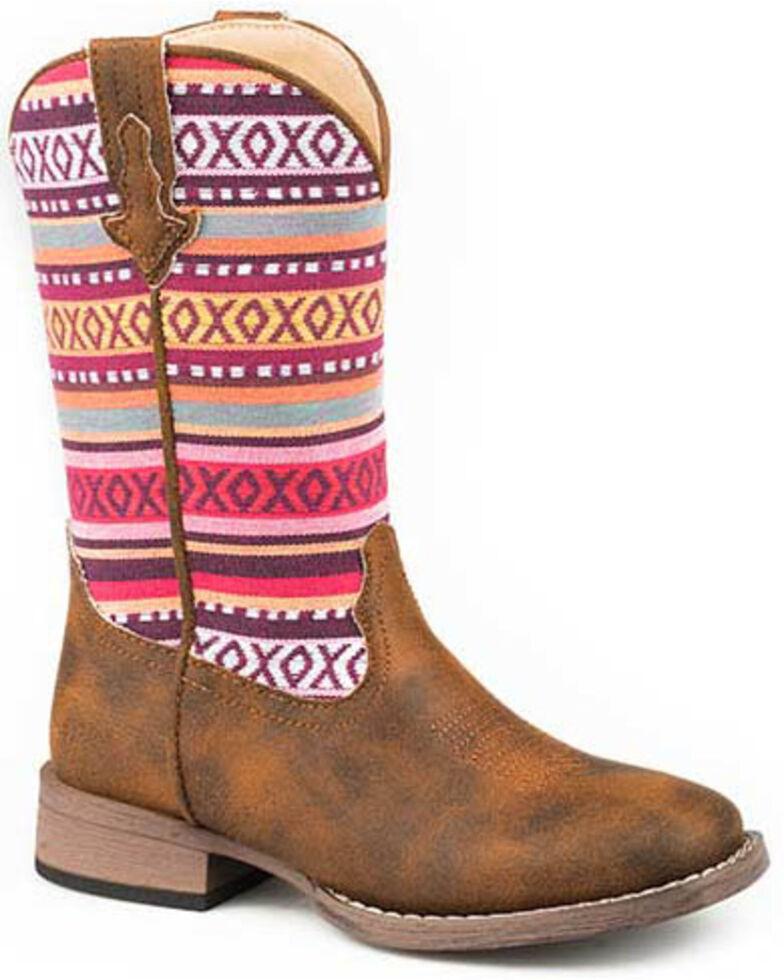 Roper Boys' Tan XO Stitch Western Boots - Square Toe, Tan, hi-res