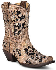 Corral Women's Brown Inlay Western Booties - Snip Toe, Brown, hi-res